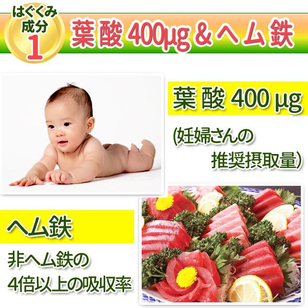 葉酸400µg(妊婦さんの推奨摂取量) ヘム鉄(非ヘム鉄の4倍以上の吸収率)