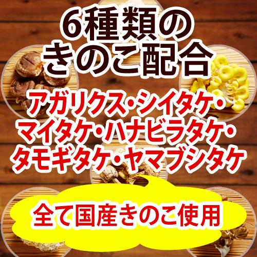 6種類のキノコ配合 アガリクス・シイタケ・マイタケ・ハナビラタケ・タモギタケ・ヤマブシタケ
